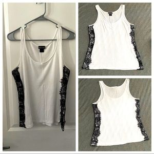 White tank top with black lace